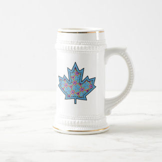 Patterned Applique Stitched Maple Leaf  18 Beer Steins