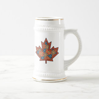 Patterned Applique Stitched Maple Leaf  19 Beer Steins