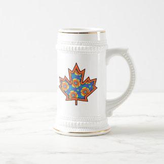 Patterned Applique Stitched Maple Leaf  2 Beer Steins