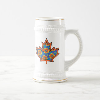 Patterned Applique Stitched Maple Leaf  2 Beer Steins