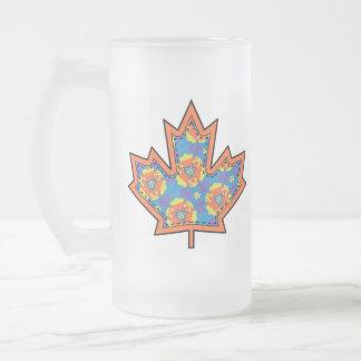 Patterned Applique Stitched Maple Leaf  2 Frosted Glass Mug