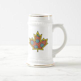Patterned Applique Stitched Maple Leaf  3 Beer Steins