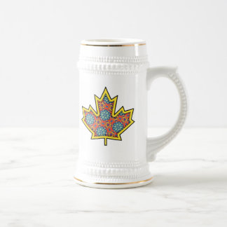 Patterned Applique Stitched Maple Leaf  3 Beer Steins
