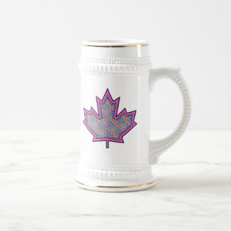 Patterned Applique Stitched Maple Leaf  5 Beer Steins