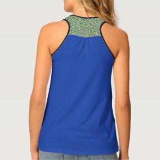 Patterned, blue, designer activewear tank