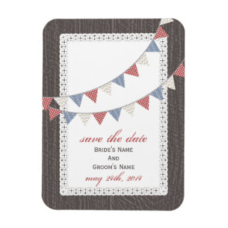 Patterned Bunting Barnwood Inspired Save The Date Rectangular Photo Magnet