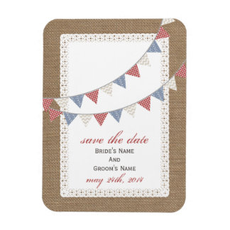 Patterned Bunting Burlap Inspired Save The Date Rectangular Photo Magnet