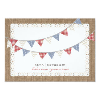 Patterned Bunting Burlap & Lace Inspired RSVP 3.5x5 Paper Invitation Card