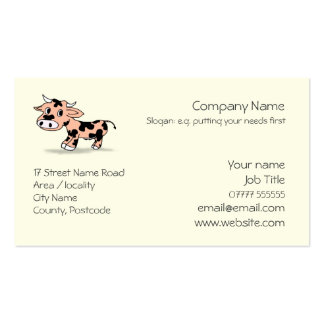 Patterned Cartoon Cow logo Pack Of Standard Business Cards