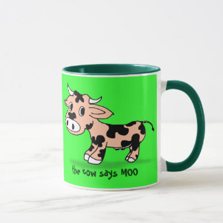 Patterned Cartoon Cow on Green with Moo