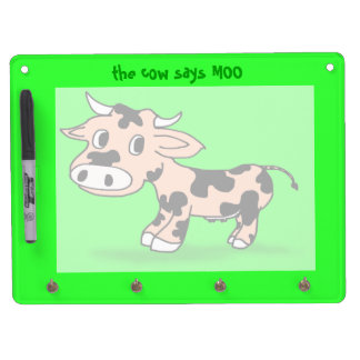 Patterned Cartoon Cow on Green with Moo Dry Erase Board With Key Ring Holder