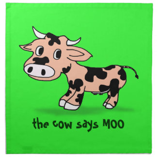 Patterned Cartoon Cow on Green with Moo Printed Napkin