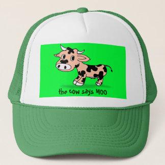 Patterned Cartoon Moo Cow Trucker Hat