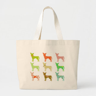 patterned-chihuahuas large tote bag