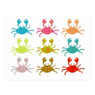 Patterned Crabs Postcards