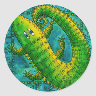 Patterned Crocodile Classic Round Sticker