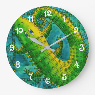 Patterned Crocodile Large Clock