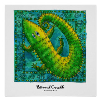 Patterned Crocodile Poster