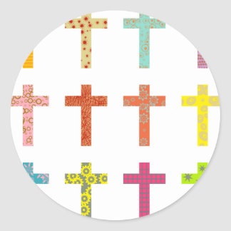 Patterned Crosses Round Stickers