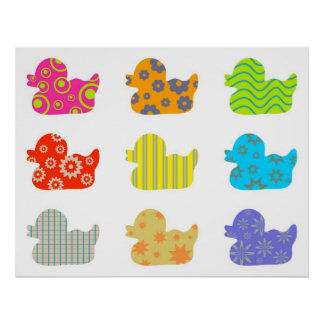 Patterned Ducks Poster