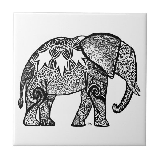 Patterned Elephant Small Square Tile