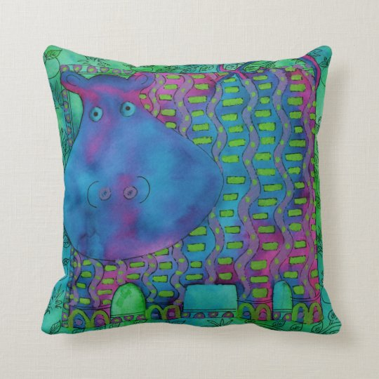 Patterned Hippo Cushion