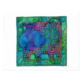 Patterned Hippo Postcard