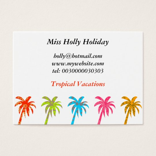 Patterned Palm Trees, Miss Holly Holiday, Business Card