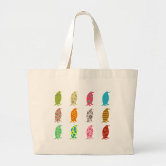 Patterned Penguins Large Tote Bag