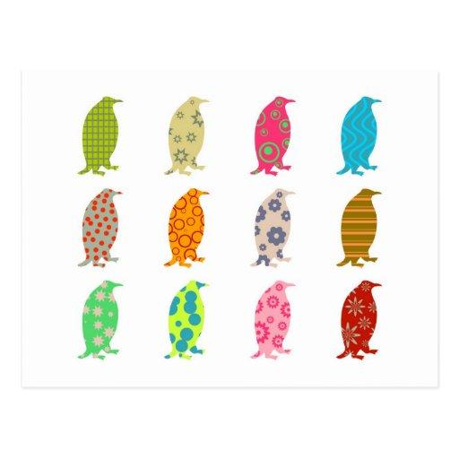 Patterned Penguins Postcards