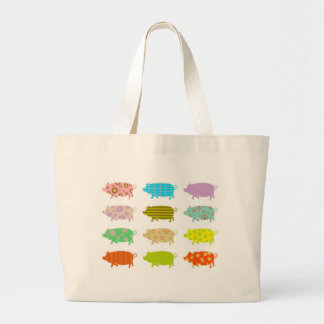 Patterned Pigs Large Tote Bag