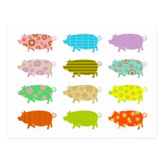 Patterned Pigs Post Cards