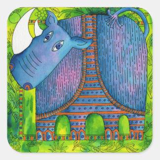 Patterned Rhino Square Sticker