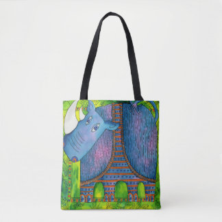 Patterned Rhino Tote Bag