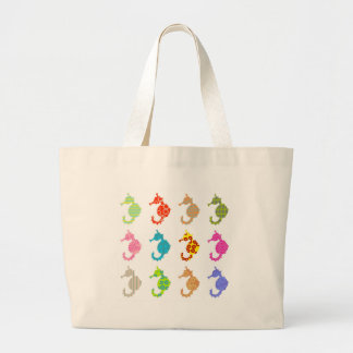 Patterned Seahorse Large Tote Bag