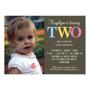 Patterned Two Birthday Party Invitation