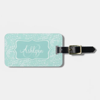 Patterned wildflower damask teal named luggage tag