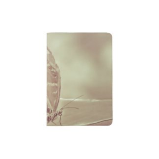 Patterned Wings Butterfly Over Leave Passport Holder
