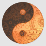 Patterned Yin Yang Gold Round Sticker