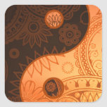 Patterned Yin Yang Gold Square Stickers