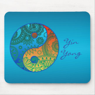 Patterned Yin Yang Orange and Blue Mouse Pad