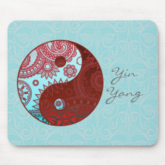 Patterned Yin Yang Red and Blue Mousepads
