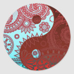 Patterned Yin Yang Red and Blue Round Sticker