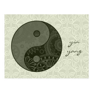 Patterned Yin Yang Sage Green Postcard