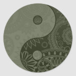 Patterned Yin Yang Sage Green Round Stickers