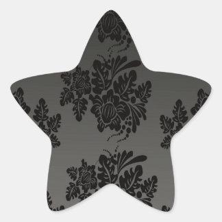 patterns design_flowers_black star sticker