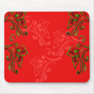 patterns_design_red_flowers_leaves_green_gold mouse pad
