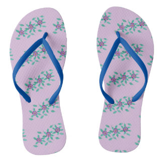 Patterns of three Purple Flowers Floral FlipFlops