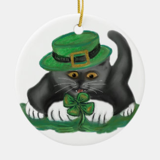 Patty, the Grey Kitten, Loves Four Leaf Clovers Round Ceramic Decoration