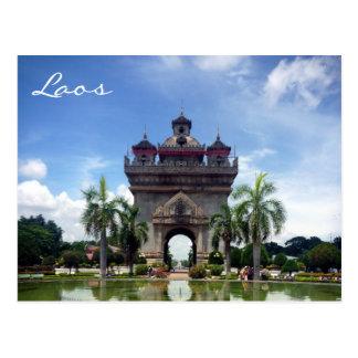 patuxai laos postcard